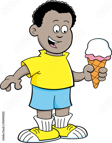 Quot cartoon illustration of an african boy eating ice