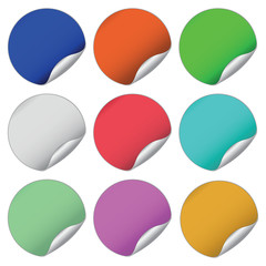 different colored round stickers set