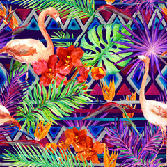 Tribal pattern, tropical leaves, flamingo birds. Repeated native background. Watercolor