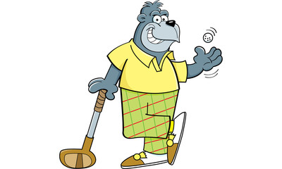 Cartoon illustration of a gorilla with a golf club and golf ball.