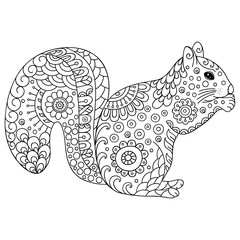 Zentangle stylized squirrel. Sketch for coloring book, poster, print, or tattoo. Hand Drawn vector illustration doodle animal. Adult antistress coloring page.