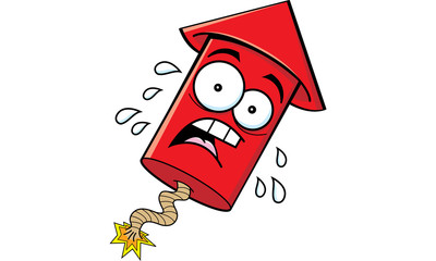 Cartoon illustration of a worried firecracker.