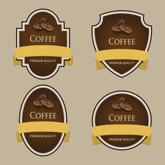 Set of dark labels. Coffee theme.