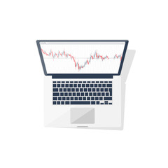 Online trading. Forex. Flat style. Investing in internet. Vector illustration. Market news.