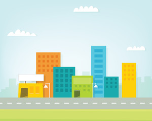 cartoon colorful city skyline