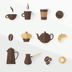 coffee icon set flat design