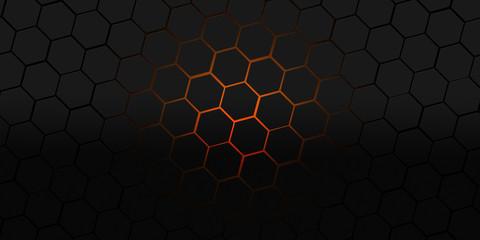 Wall Mural - black and orange hexagons modern background illustration