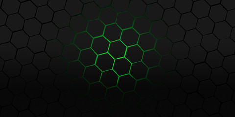 Wall Mural - black and green hexagons modern background illustration