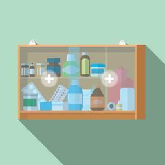 medicine cabinet vector flat design.