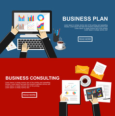 Banner for business plan and business consulting. Flat design illustration concepts for finance, business, management, analysis, business solution, business statistic.