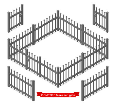 Isometric metal fence and gate