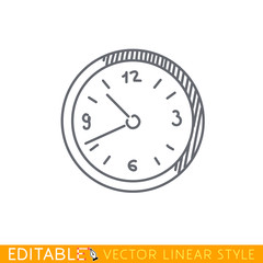 Wall clock icon. Editable vector graphic in linear style.