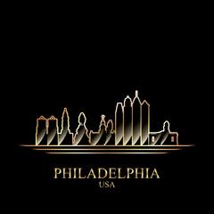 Gold silhouette of Philadelphia on black background