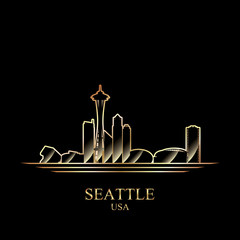 Gold silhouette of Seattle on black background
