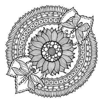 Circle summer doodle flower ornament. Hand drawn art mandala.