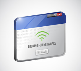 browser looking for networks message sign concept