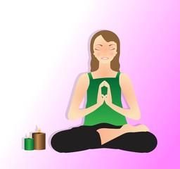 Illustrazione vettoriale di bella giovane donna che pratica yoga, meditazione in Posizione Del Loto