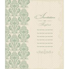 Wedding Invitation card Baroque green and beige
