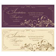 Wedding Invitation card Baroque vinous and gold