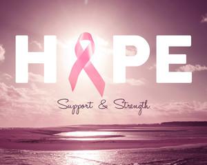 Pink hope breast cancer awareness background