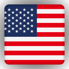 American United States Flag in glossy square button of icon. USA emblem isolated on white background. National concept sign.