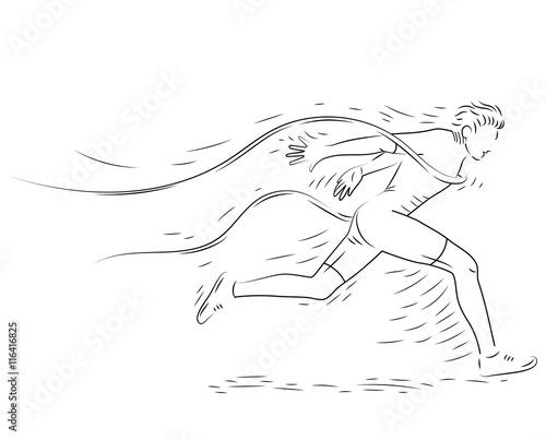 Runner at Finish Line, Runner Sport Motion, Success Concept