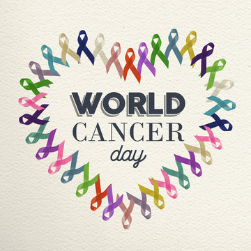 World cancer day heart shape design with ribbon