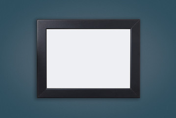 Blank Black Photo frame on Blue navy wall