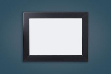 Blank Black Photo frame on Blue navy wall