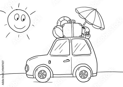 Ausmalbild Auto Urlaub Stockfotos Und Lizenzfreie Bilder Auf