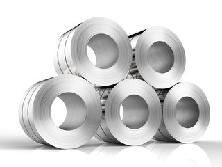 heap of steel rolls