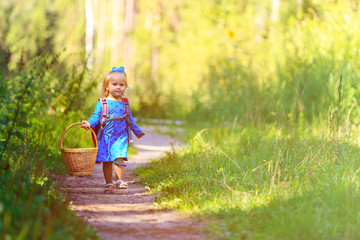cute little girl with basket walking in forest, kids summer activities