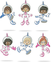 Astronaut cartoon characters in outer space suit