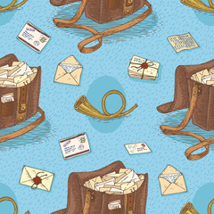 Seamless Vector Pattern with Envelopes, Post Horns and Mail Bags