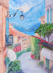 Small town street view in Bellagio, Lake Como Italy