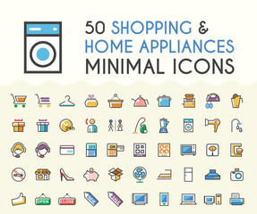 Set of 50 Minimalistic Solid Line Coloured Shopping and Home Appliances Icons. Isolated Vector Elements.