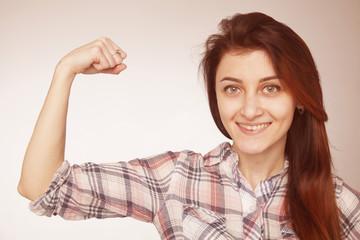 young beautiful woman showing her beautiful arms