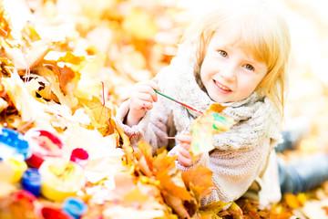kreatives Kind mal den Herbst an