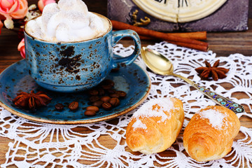 Delicious Crispy French Croissants with Coffee