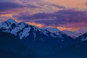Vector abstract low polybackground, dramatic mountains