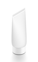 White vertical cosmetic cream tube from top side far angle.