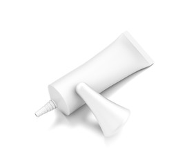 White horizontal cosmetic cream tube from top front closeup angle.