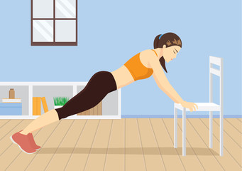 Busy woman workout at home with white chair. Push up. Illustration about healthy lifestyle.
