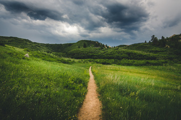 Landscape of a trail leading into field with hills before a storm.