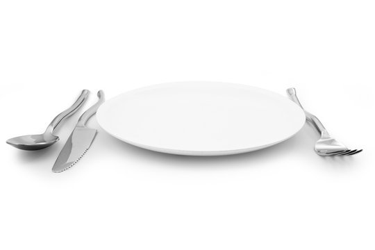 white plate knife and fork cutlery isolated