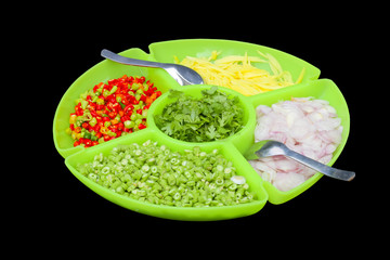 Food ingredients in the big dish,this have clipping path