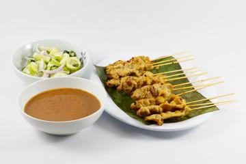 Thai Food, Pork Satay with Peanut Sauce
