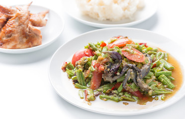 long Bean Salad with salted crab, Thai food