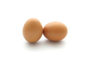 close up egg isolated on white background