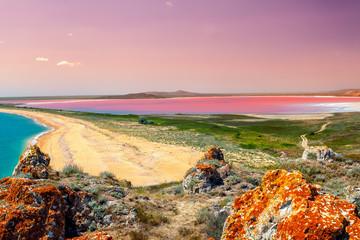 Panoramic view at Pink lake at sunset light